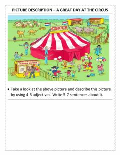 Interactive worksheet Picture description – a great day at the circus