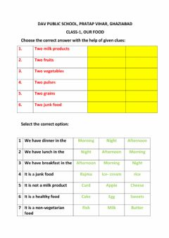 Interactive worksheet EVS topic our food