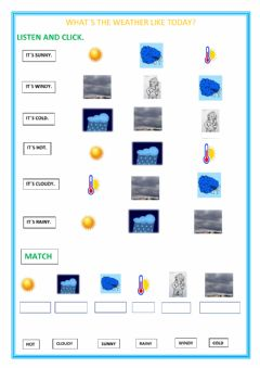 Interactive worksheet what´s the weather like today?