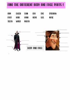 Interactive worksheet Body and face parts