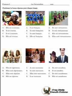 Interactive worksheet French Nationalities 2