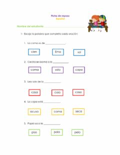 Interactive worksheet Lectura de oraciones