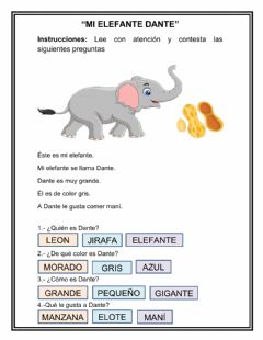 Interactive worksheet Mi elefante Dante