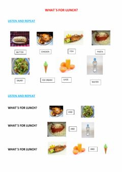 Interactive worksheet what´s for lunch?
