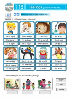 Interactive worksheet Feelings (subject pronouns)