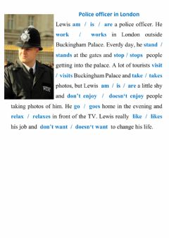 Ficha interactiva Reading - police officer in London