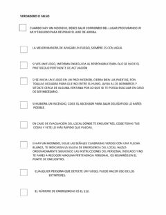 Interactive worksheet En caso de incendio: verdadero o falso
