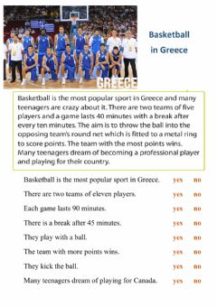Interactive worksheet Reading - Basketball in Greece