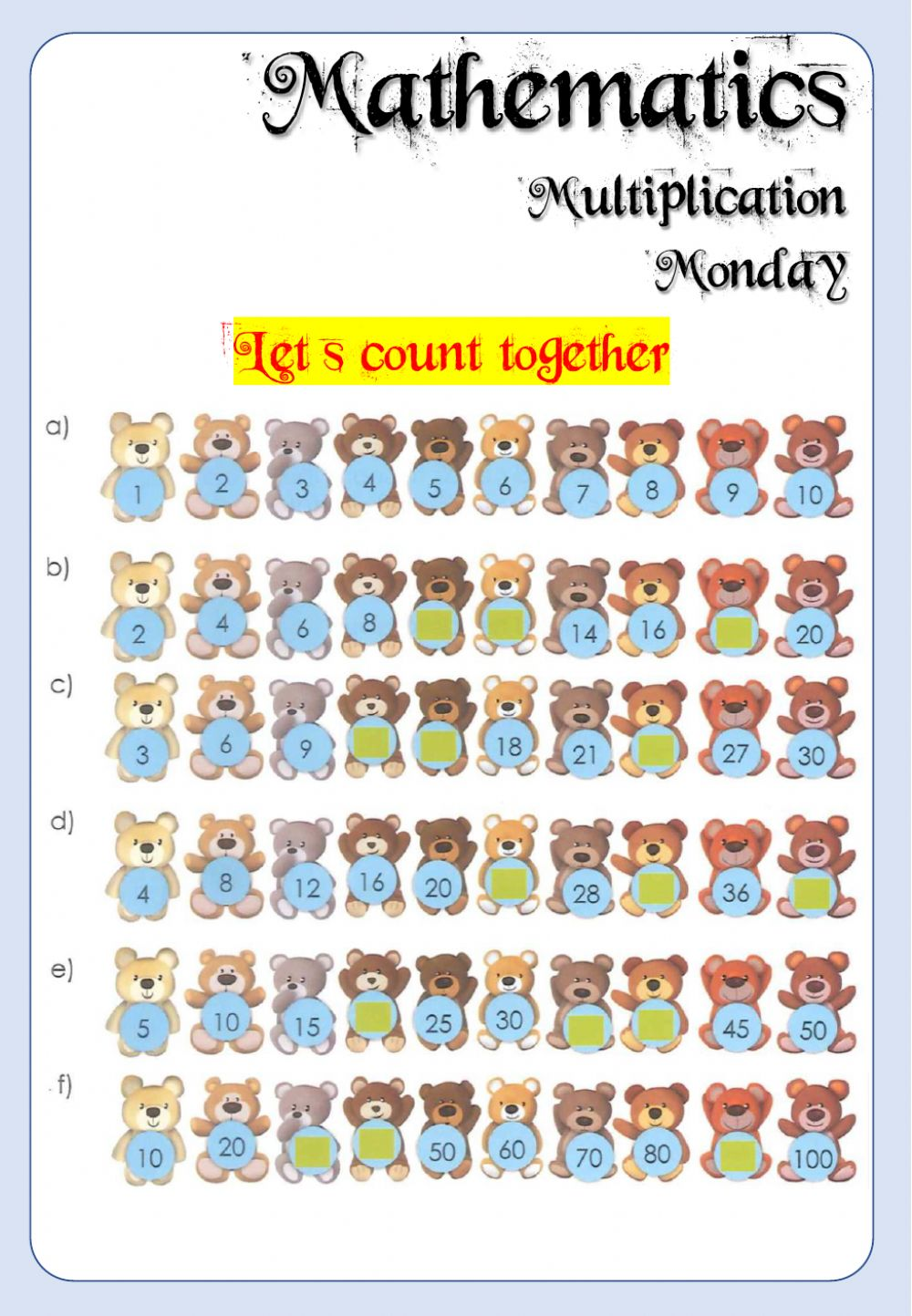 Week 21 - Math - Monday 4 - Interactive worksheet