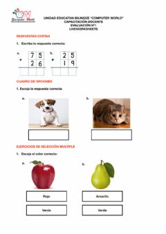 Interactive worksheet Evaluación Liveworksheet