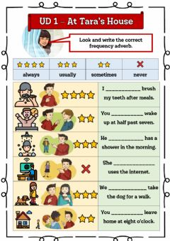 Interactive worksheet At Tara's House - 5º UD 1 Ficha 4