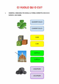 Interactive worksheet CI VUOLE QU O CU