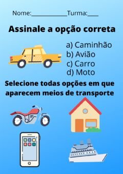 Interactive worksheet Meios de transporte
