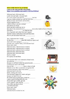 Interactive worksheet Welcome back to school song