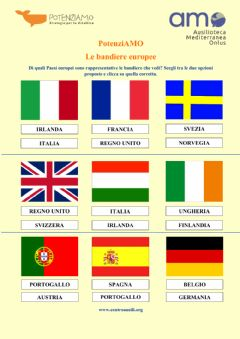 Interactive worksheet Le bandiere europee
