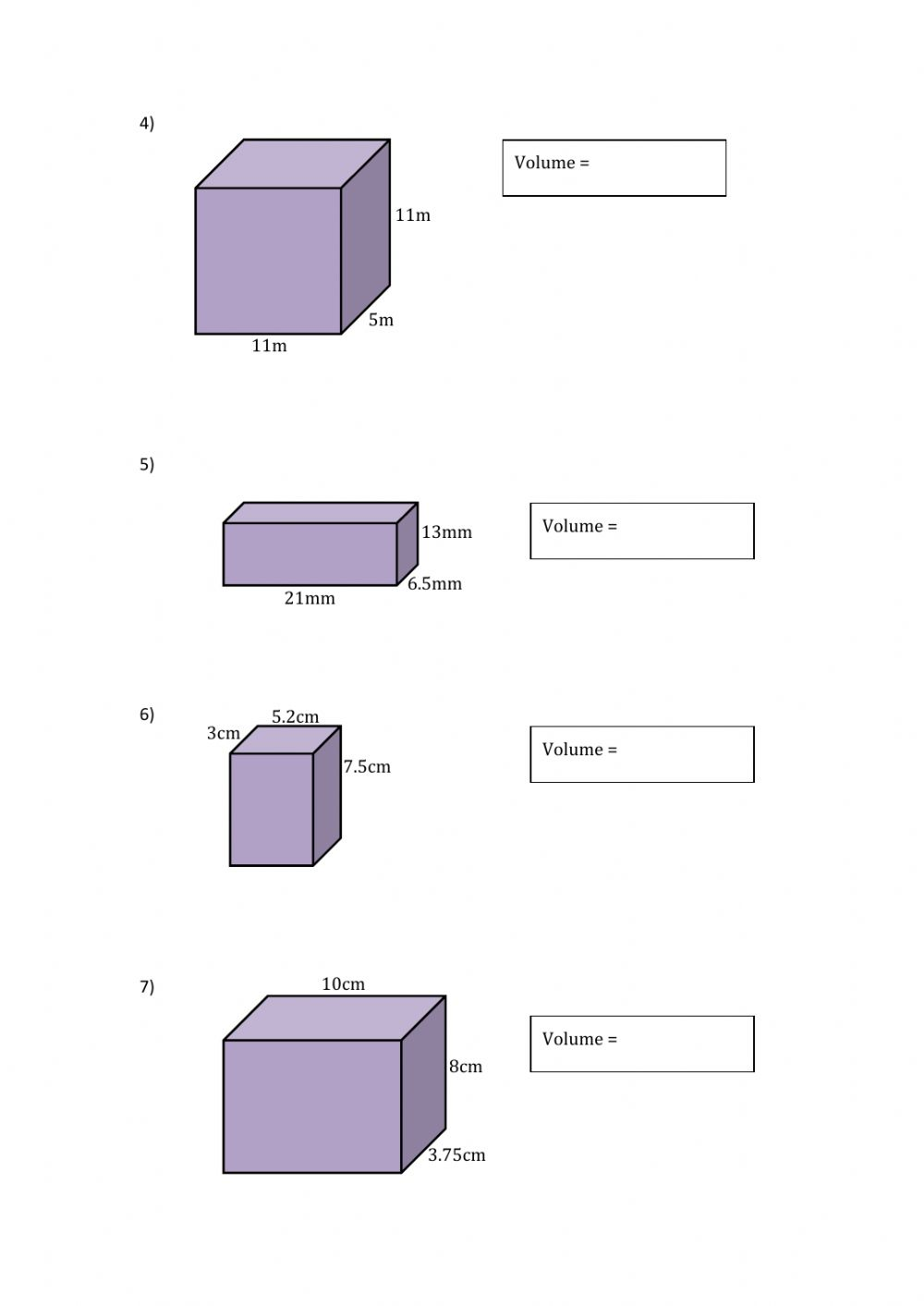 Finding the Volume of Cubes and Rectangular Prisms worksheet