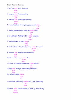 Interactive worksheet Present Perfect Time Expressions