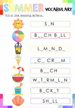 Interactive worksheet Fill in the missing letters: Summer Vocabulary