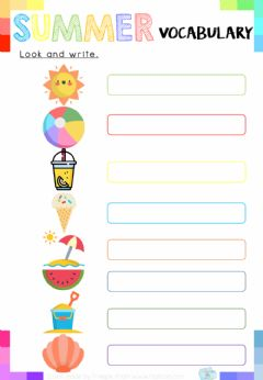 Ficha interactiva Summer Vocabulary: Look and write