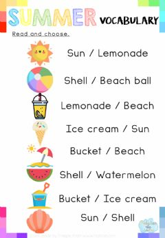 Interactive worksheet Read and choose: Summer Vocabulary