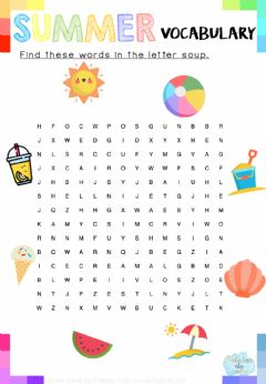 Interactive worksheet Find these words in the letter soup: Summer Vocabulary