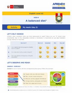 Interactive worksheet My Meals W-6 (A2)