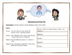 Interactive worksheet Telephones and Small Talk