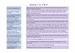 Interactive worksheet About a trip