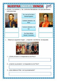 Interactive worksheet Nuestra Independencia