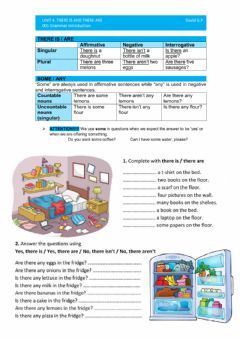 Interactive worksheet There is and there are - SOME AND ANY
