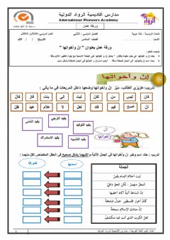 Interactive worksheet إن وأخواتها