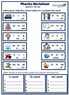 Interactive worksheet Phonics Sound V, Th, KW