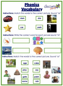 Interactive worksheet Phonics Words sound ar, ai, sh