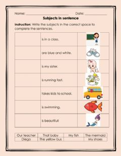 Ficha interactiva Subjects in a Sentence