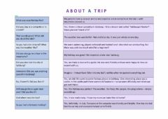 Ficha interactiva About a trip (basic)