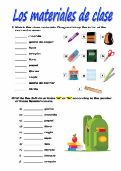 Interactive worksheet Materiales de la clase