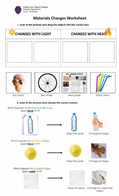 Interactive worksheet Changes of materials