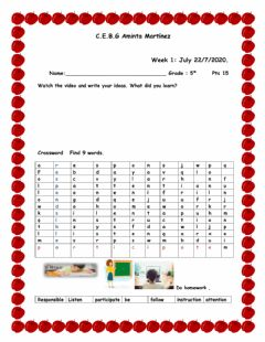 Interactive worksheet Classroom Rules and Personnel Information