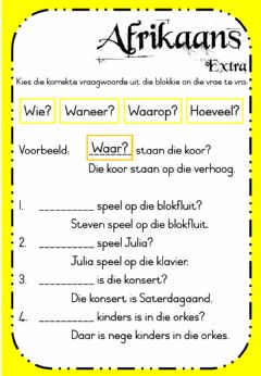 Interactive worksheet Week 21 - Afrikaans - Wednesday Extra