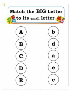Interactive worksheet Matching Big letter to small letter