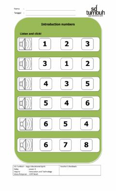 Interactive worksheet Number recognition