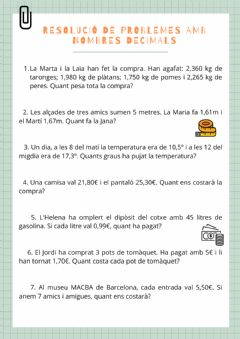 Interactive worksheet Resolució de problemes amb nombres decimals