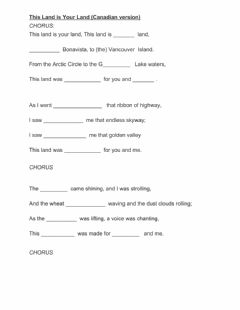 Interactive worksheet This Land is Your Land (Canadian version)