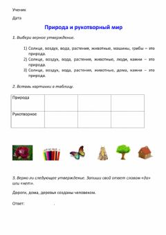 Interactive worksheet Природа и рукотворный мир