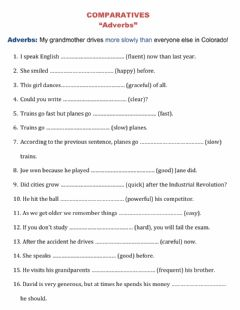 Interactive worksheet Comparatives with Adverbs and Adjectives