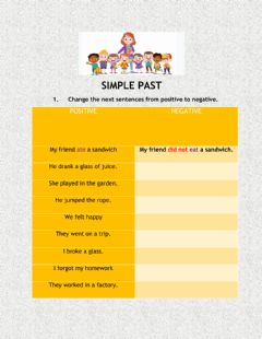 Interactive worksheet Simple past positive and negative