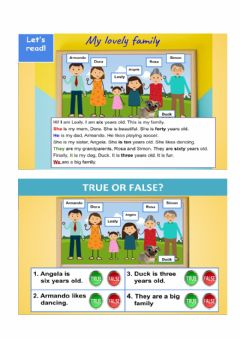 Interactive worksheet Reading- My family
