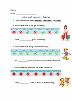 Ficha interactiva Adverbs of frequency - Practice