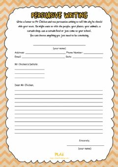 Interactive worksheet Mr. Chicken - Persuasive Writing