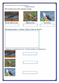 Interactive worksheet Птицы России